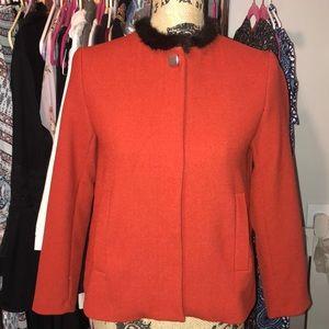 Jacket with faux fur trim